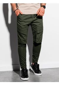 Ombre Clothing - Spodnie męskie joggery P999 - khaki - XXL. Kolor: brązowy. Materiał: bawełna, elastan. Wzór: aplikacja
