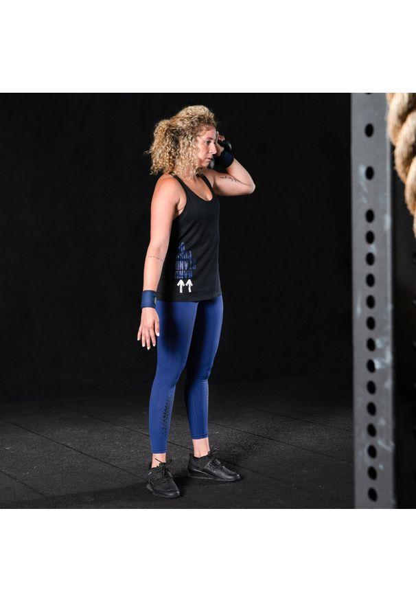 DOMYOS - Top do treningu crossowego damski. Kolor: czarny. Materiał: poliester, bawełna, materiał. Sport: fitness