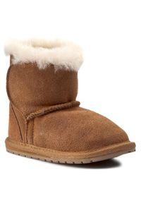 Brązowe buty zimowe EMU Australia z cholewką, na rzepy