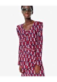 Kenzo - KENZO - Jedwabna bluzka w syreny. Kolor: czerwony. Materiał: jedwab. Długość rękawa: długi rękaw. Długość: długie. Wzór: aplikacja