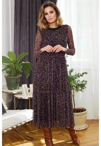 e-margeritka - Sukienka szyfonowa midi elegancka w zwierzęcy wzór - 36. Materiał: szyfon. Wzór: motyw zwierzęcy. Typ sukienki: rozkloszowane. Styl: elegancki. Długość: midi