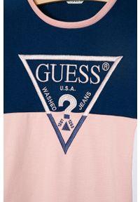 Niebieska sukienka Guess mini, gładkie, prosta