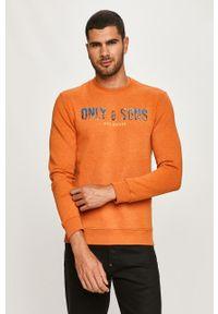 Pomarańczowa bluza nierozpinana Only & Sons z nadrukiem, casualowa, na co dzień
