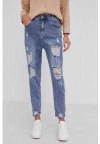 Answear Lab - Jeansy bawełniane. Stan: podwyższony. Kolor: niebieski. Styl: wakacyjny