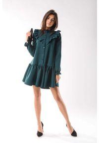 Zielona sukienka wizytowa Nommo mini, z falbankami