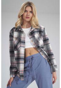 Figl - Ciepła Koszula w Kratę - Wzór 124. Materiał: nylon, poliester. Typ sukienki: koszulowe
