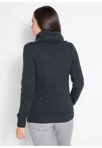 Sweter z golfem z troczkami bonprix czarny. Typ kołnierza: golf. Kolor: czarny. Materiał: skóra. Wzór: aplikacja