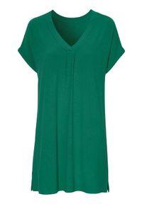 Zielona tunika Cellbes krótka, z krótkim rękawem, z dekoltem w serek