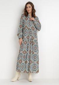 Born2be - Niebieska Sukienka Deparia. Kolor: niebieski. Materiał: bawełna. Długość rękawa: długi rękaw. Wzór: aplikacja. Długość: maxi