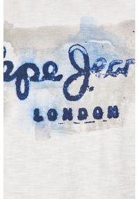 Biały t-shirt Pepe Jeans z okrągłym kołnierzem, na co dzień, casualowy, z nadrukiem