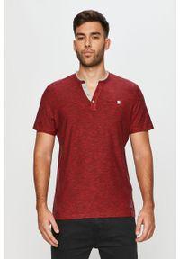 Czerwona koszulka polo Tom Tailor Denim na co dzień, melanż, krótka