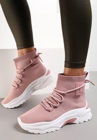 Renee - Różowe Sneakersy Diomerine. Wysokość cholewki: za kostkę. Zapięcie: bez zapięcia. Kolor: różowy. Materiał: materiał. Szerokość cholewki: normalna