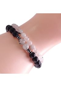 Sis&Me - KENT Zestaw bransoletek z kamieni na gumce biała i czarna unisex. Kolor: wielokolorowy, biały, czarny. Wzór: gładki. Kamień szlachetny: hematyt, kwarc, onyks