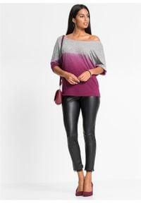 Shirt oversize w cieniowanym kolorze bonprix szaro-jeżynowy melanż. Kolor: szary. Wzór: melanż #4
