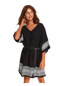 TOP SECRET - Luźna sukienka z wiązaniem w pasie. Kolor: czarny. Typ sukienki: koszulowe