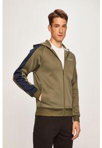 Oliwkowa bluza rozpinana Tommy Sport sportowa, z nadrukiem, z kapturem, raglanowy rękaw