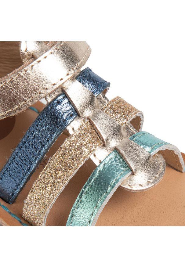 Złote sandały Gioseppo z aplikacjami, na lato