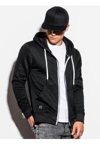 Ombre Clothing - Bluza męska rozpinana z kapturem B977 - czarna V - XXL. Typ kołnierza: kaptur. Kolor: czarny. Materiał: poliester, bawełna. Styl: klasyczny