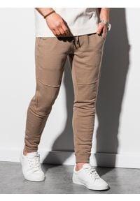 Ombre Clothing - Spodnie męskie dresowe joggery P987 - jasnobrązowe - XXL. Kolor: brązowy. Materiał: dresówka