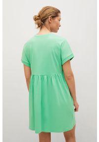 mango - Mango - Sukienka GISELE1. Kolor: zielony. Materiał: dzianina, bawełna. Długość rękawa: krótki rękaw. Typ sukienki: rozkloszowane