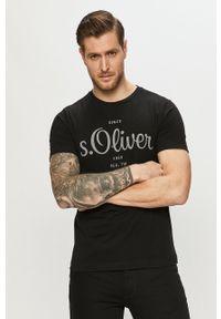 s.Oliver - s. Oliver - T-shirt. Okazja: na co dzień. Kolor: czarny. Materiał: dzianina. Wzór: gładki. Styl: casual