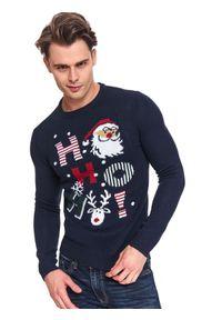 Niebieski sweter TOP SECRET wizytowy, długi, z klasycznym kołnierzykiem