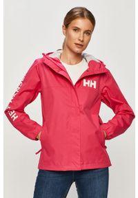 Różowa kurtka Helly Hansen casualowa, na co dzień, z nadrukiem, z kapturem