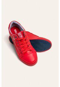 Czerwone tenisówki Big-Star z cholewką, na sznurówki, z okrągłym noskiem