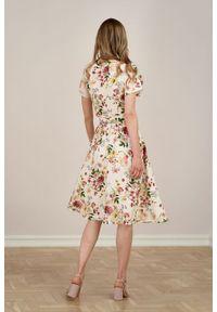 Marie Zélie - Sukienka Duilin Jardin kremowa. Kolor: kremowy. Materiał: tkanina, wiskoza, len. Typ sukienki: kopertowe