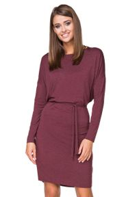 Tessita - Bordowa Sukienka z Wiązanym Paskiem. Kolor: czerwony. Materiał: wiskoza, elastan, akryl