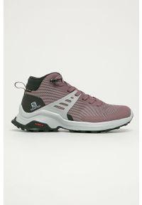 Różowe buty trekkingowe salomon na sznurówki, Gore-Tex, z cholewką, z okrągłym noskiem