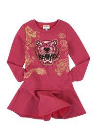 Kenzo kids - KENZO KIDS - Sukienka Tiger 2-12 lat. Kolor: różowy, wielokolorowy, fioletowy. Materiał: materiał. Wzór: haft, aplikacja, nadruk. Sezon: lato. Typ sukienki: rozkloszowane #3