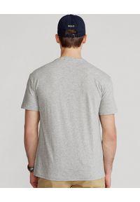 Ralph Lauren - RALPH LAUREN - Szary t-shirt z logo Classic Fit. Typ kołnierza: polo. Kolor: szary. Materiał: bawełna. Wzór: nadruk, melanż. Styl: klasyczny, sportowy