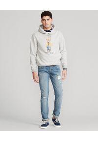 Ralph Lauren - RALPH LAUREN - Szara bluza męska. Okazja: na co dzień. Typ kołnierza: polo, kaptur. Kolor: szary. Długość: długie. Wzór: nadruk. Materiał: jeans, bawełna. Długość rękawa: długi rękaw. Sezon: wiosna. Styl: casual, klasyczny, elegancki