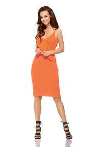 Lemoniade - Pomarańczowa Sukienka Swetrowa na Cienkich Ramiączkach. Kolor: pomarańczowy. Materiał: bawełna, akryl. Długość rękawa: na ramiączkach