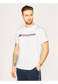 Tommy Sport T-Shirt Logo Chest S20S200051 Biały Regular Fit. Kolor: biały. Styl: sportowy