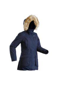 Kurtka turystyczna quechua na zimę, ze stójką