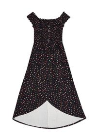 Czarna sukienka MOODO maxi, z asymetrycznym kołnierzem
