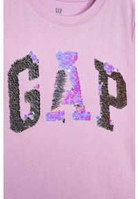 Fioletowa bluzka z krótkim rękawem GAP krótka, z aplikacjami