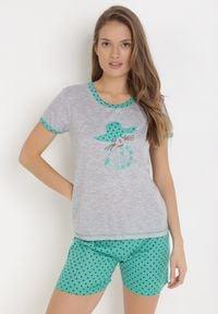 Born2be - Szaro-Zielony Komplet Piżamowy Phiodeia. Kolor: szary