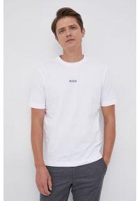BOSS - Boss - T-shirt. Kolor: biały. Materiał: dzianina. Wzór: gładki