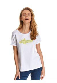 Biały t-shirt TOP SECRET z napisami, klasyczny