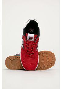 Czerwone sneakersy New Balance z cholewką, z okrągłym noskiem