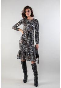 Sukienka wizytowa Nommo z motywem zwierzęcym, midi