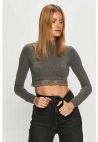 Guess Jeans - Sweter. Okazja: na co dzień. Kolor: szary. Materiał: jeans. Styl: casual