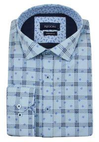 Niebieska elegancka koszula Rigon długa, do pracy