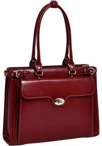 Torba MCKLEIN Skórzana torba damska na laptopa 15,4 Mcklein Winnetka 94836 czerwona. Kolor: czerwony. Materiał: skóra