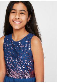 Sukienka dziewczęca na uroczyste okazje z tiulową wstawką bonprix kobaltowy. Kolor: niebieski. Materiał: tiul #4