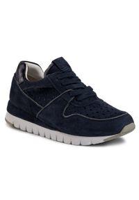 Niebieskie buty sportowe Caprice z cholewką, na płaskiej podeszwie
