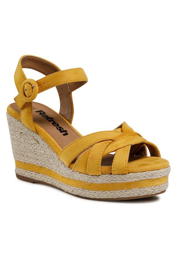 Refresh - Espadryle REFRESH - 72636 Yellow. Okazja: na co dzień. Kolor: żółty. Materiał: materiał. Sezon: lato. Obcas: na obcasie. Styl: casual. Wysokość obcasa: średni